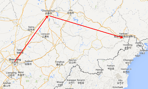 shenyang to yanji map 1