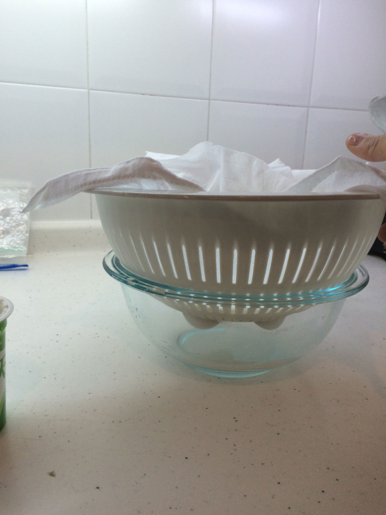Here's my setup: a large bowl, a colander, a piece of cheesecloth, and a dinner plate. Couldn't be simpler.